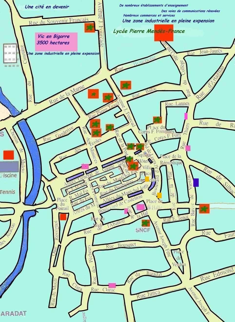 plan du centre ville de vic en bigorre avec tous les difices importants et les lieux int ressants. Black Bedroom Furniture Sets. Home Design Ideas